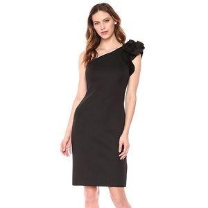 Eliza J Black One Shoulder Sheath Cocktail Dress